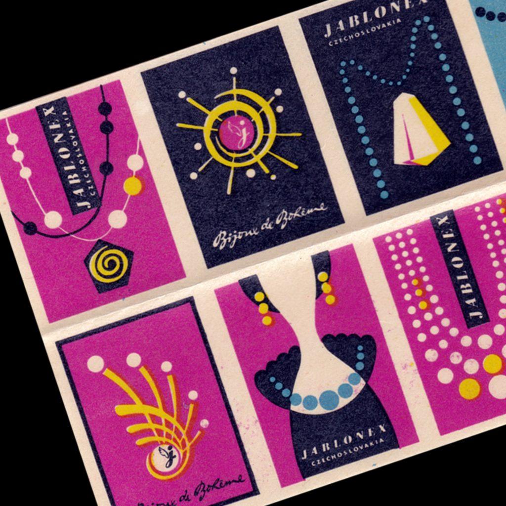 Jablonex Czech matchbok labels