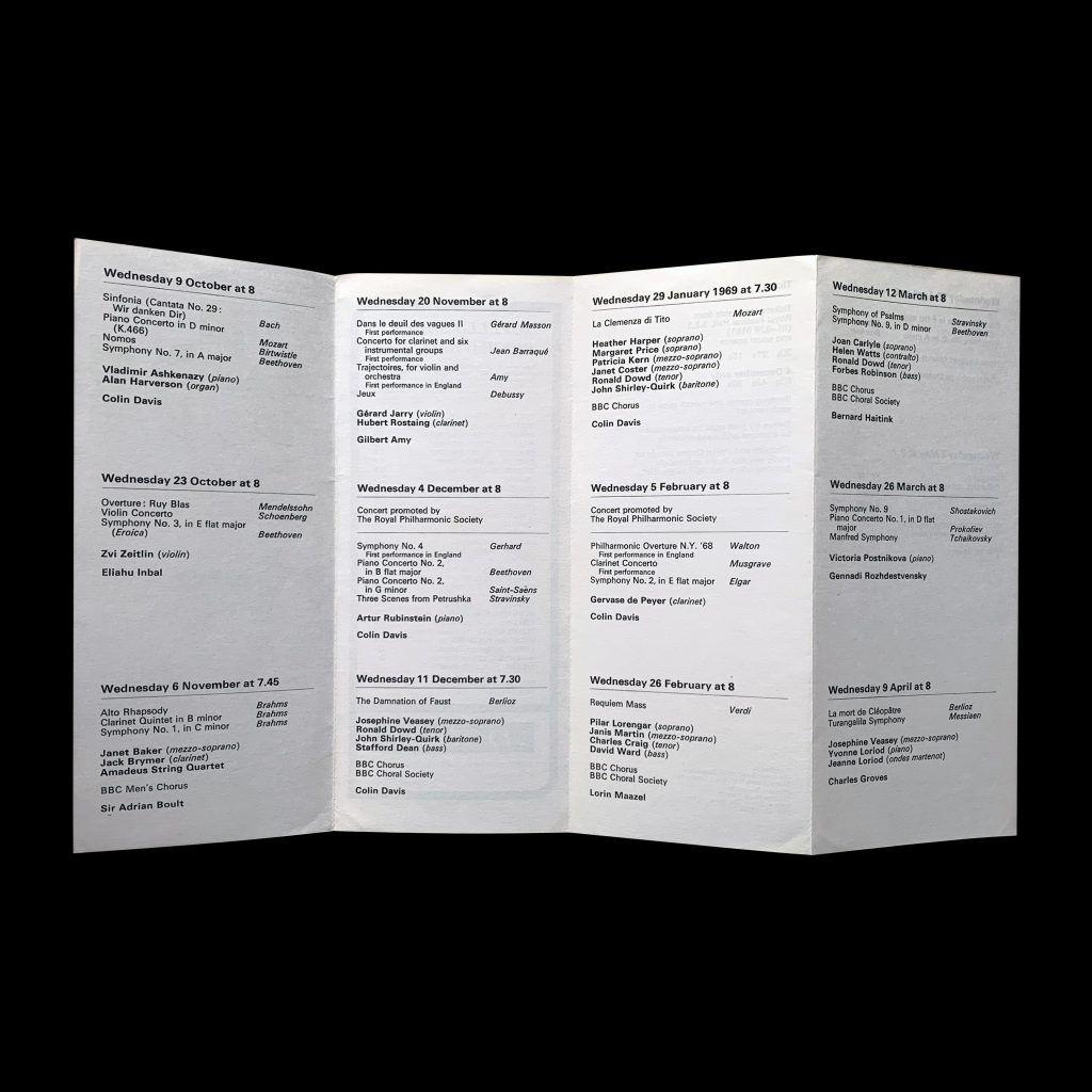 BBC Symphony Orchestra, Season 1968-69, Brochure