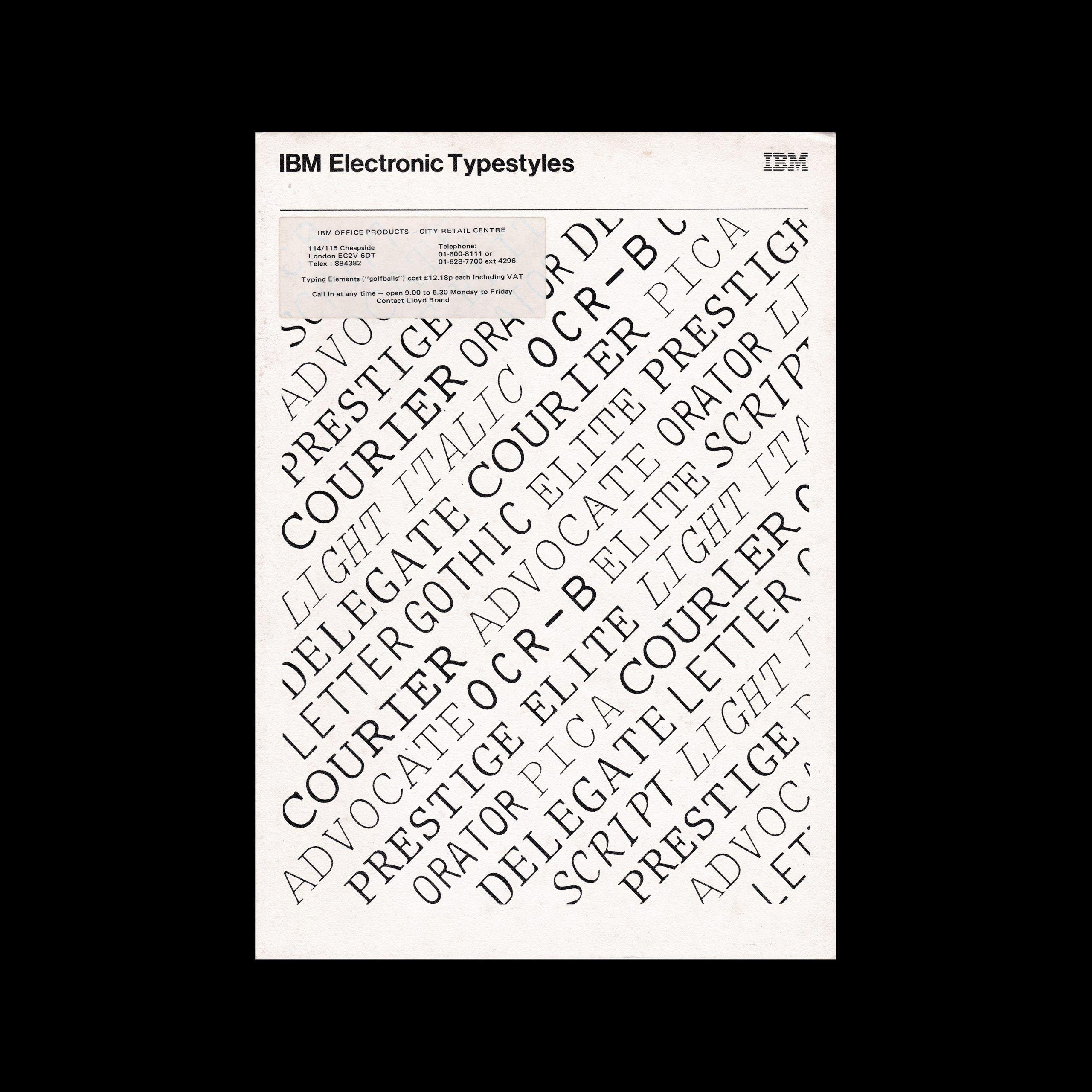 IBM Electronic Typestyles Catalogue