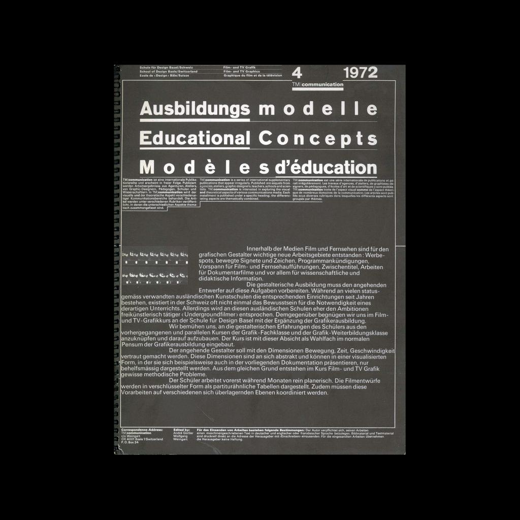 Typografische Monatsblätter Communication, 4, 1972. Design by Wolfgang Weingart