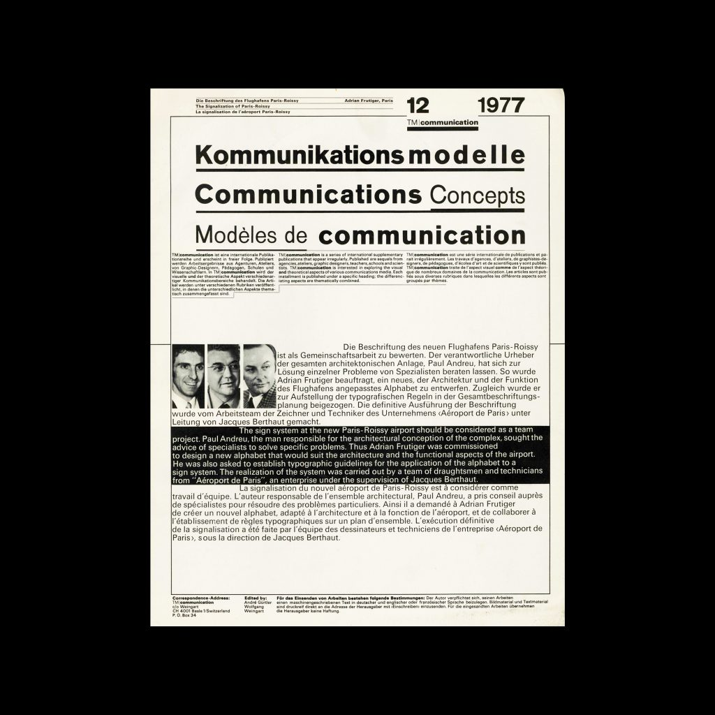Typografische Monatsblätter Communication, 12, 1977. Design by Wolfgang Weingart