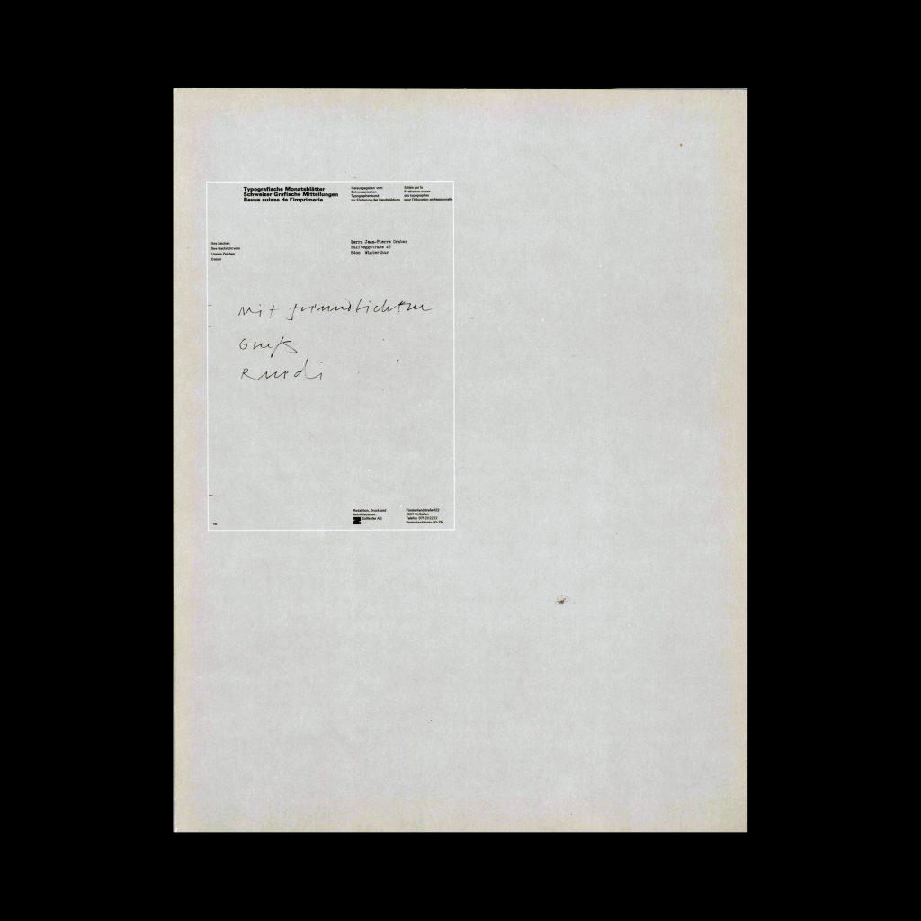 Typografische Monatsblätter, 6, 1983. Cover design by Jost Hochuli