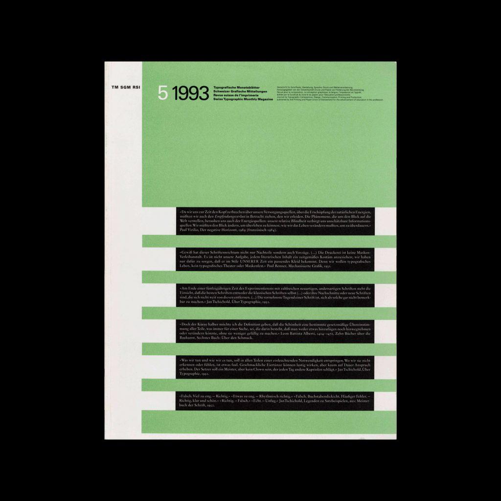 Typografische Monatsblätter, 5, 1993