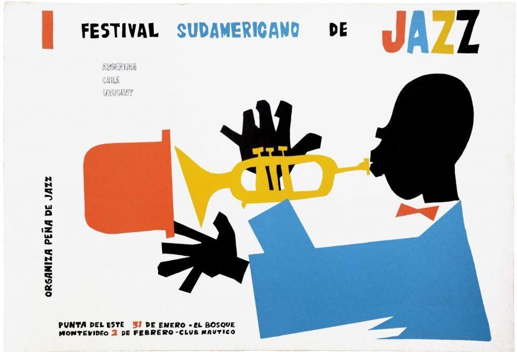 Poster · Primer Festival Sudamericano de Jazz · Jazz · Imprenta AS · Circa 1960