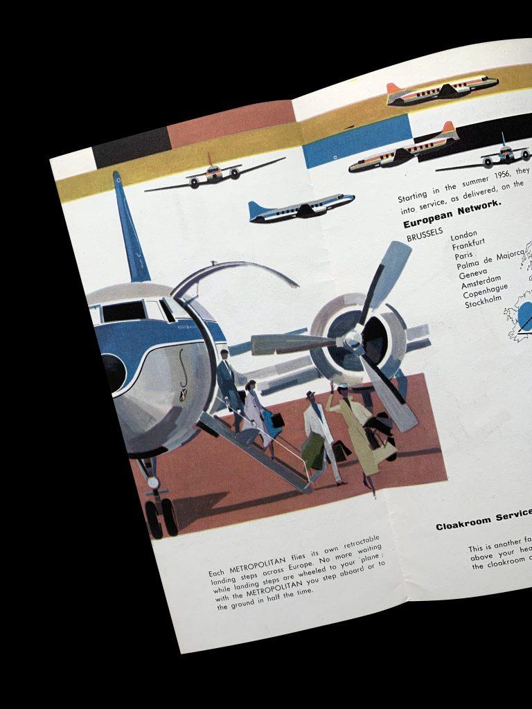 Sabena Convair CV-440 Metropolitan, 1956. Designed by Kurt Wirth