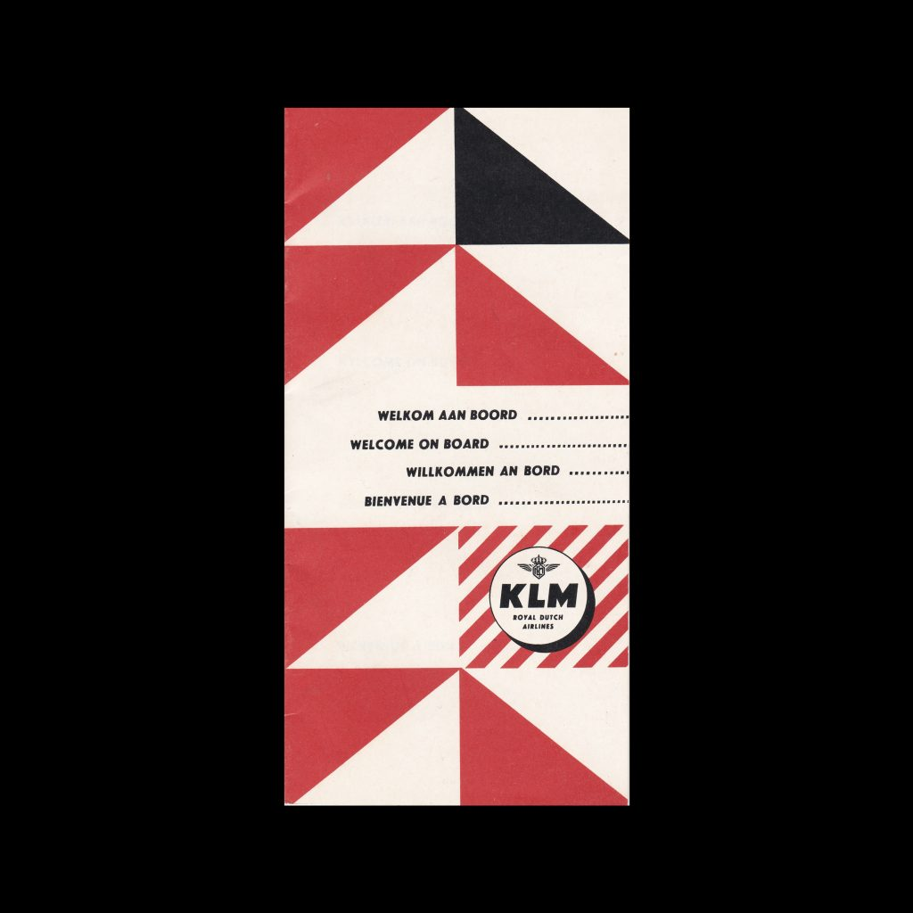 KLM On Board Information Brochure, 1958. Designed by Otto Treumann