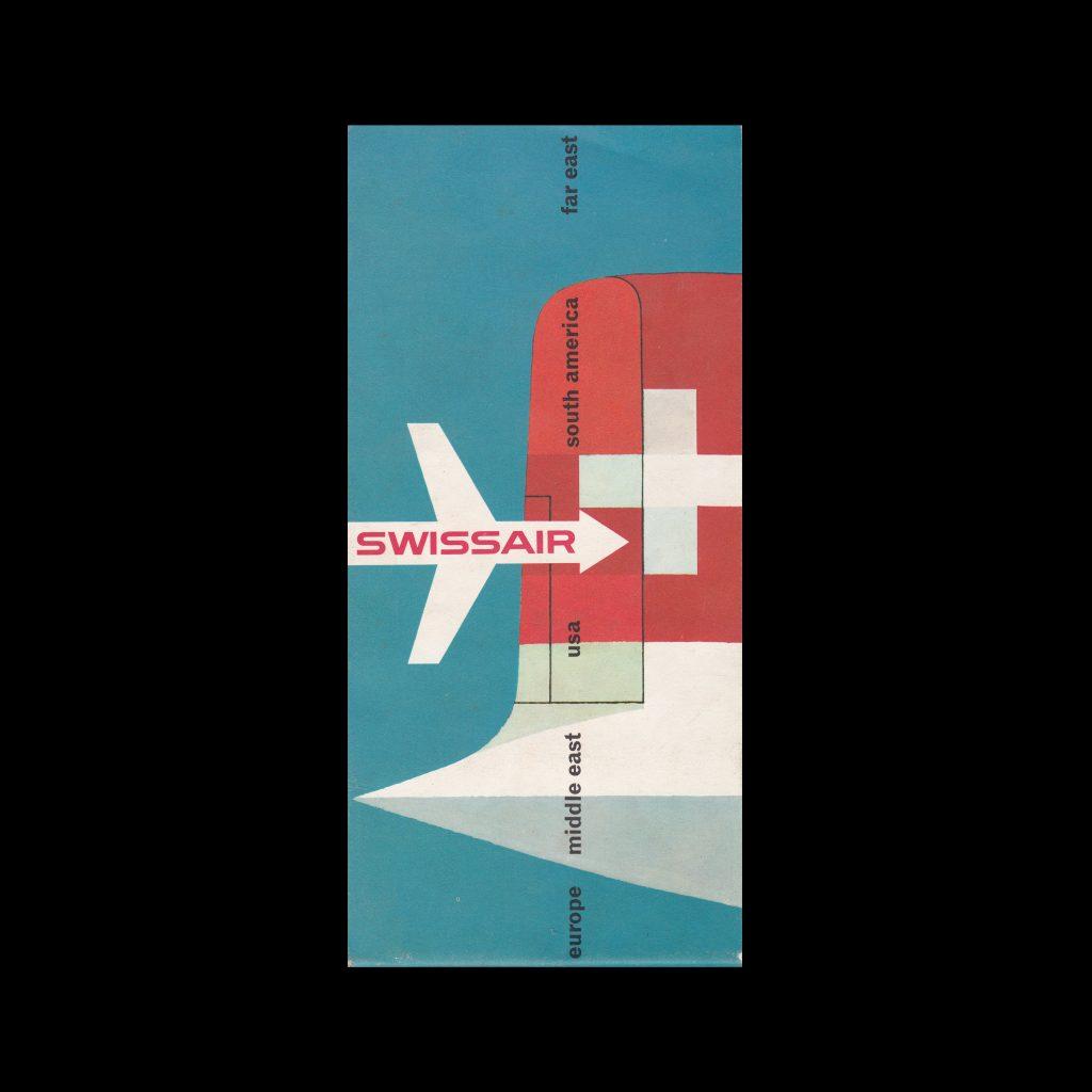 Swissair Routes Brochure, 1950s. Designed by Hugo Wetli