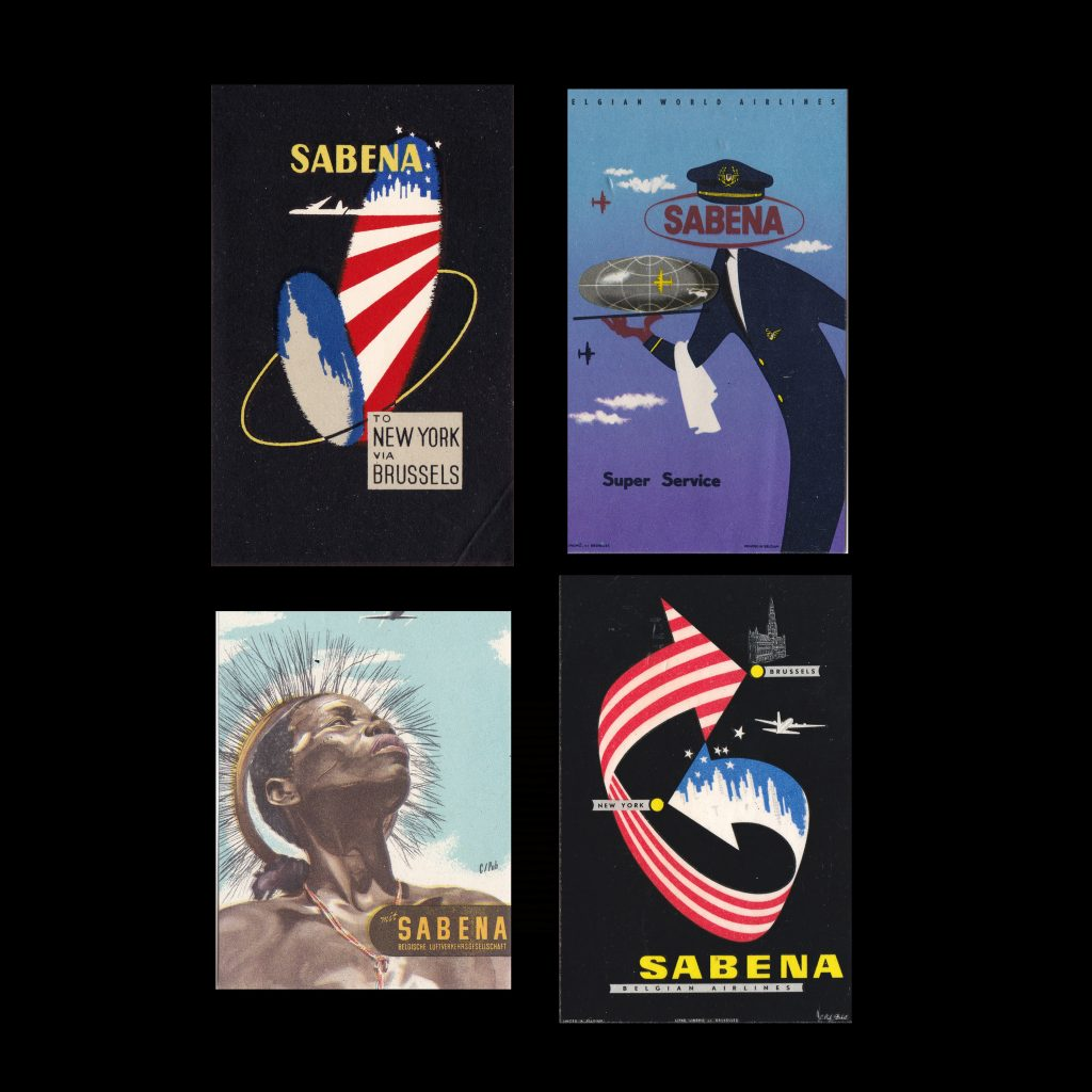 Sabena Airlines, Late 1940s luggage labels