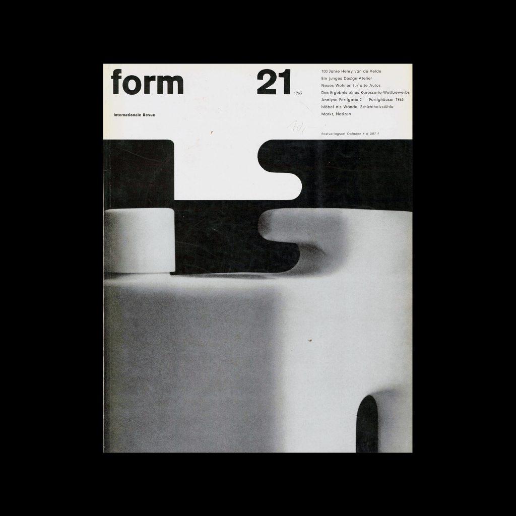 Form, Internationale Revue 21, 1963. Designed by Karl Oskar Blase