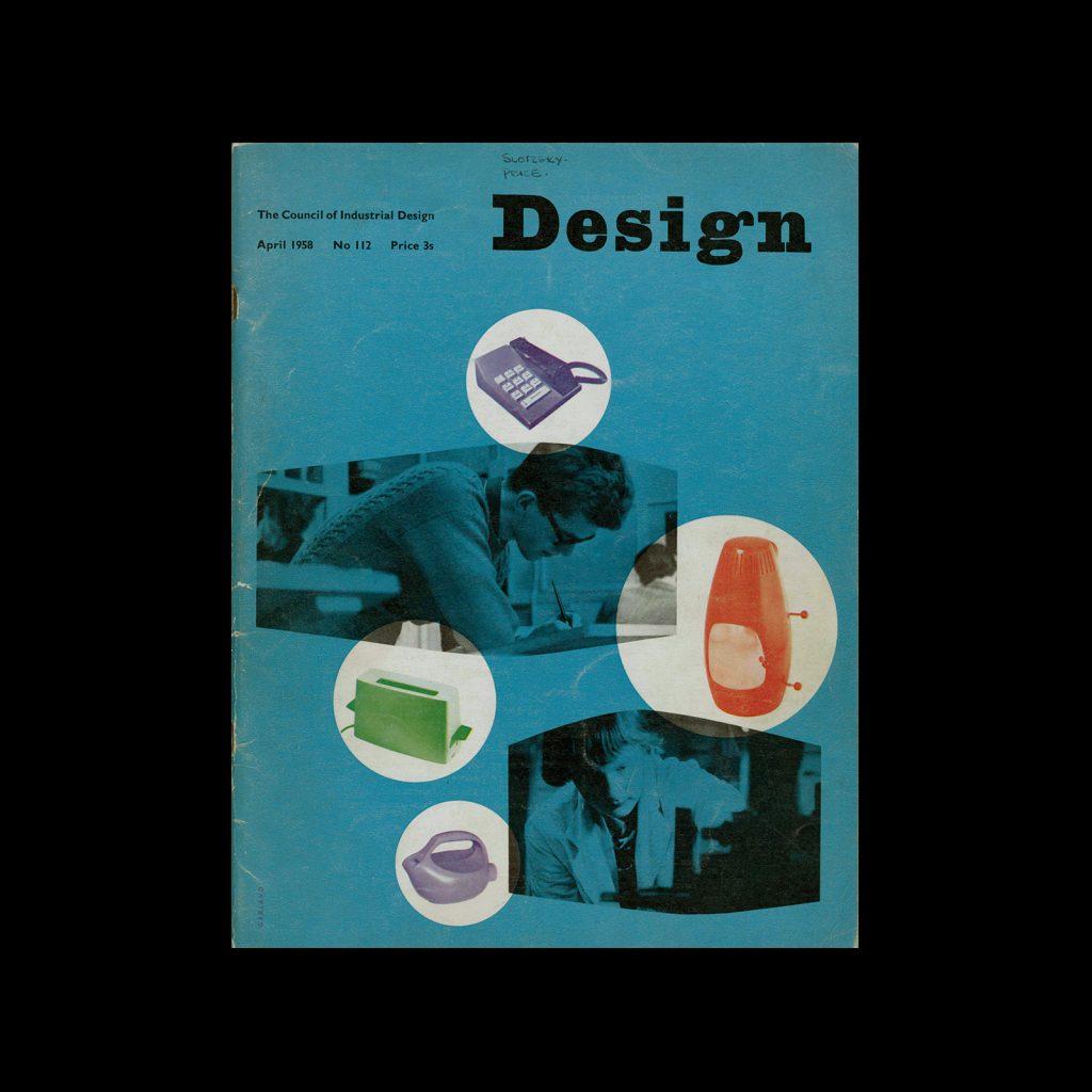 Design, Council of Industrial Design, 112, April 1958. Cover design by Ken Garland