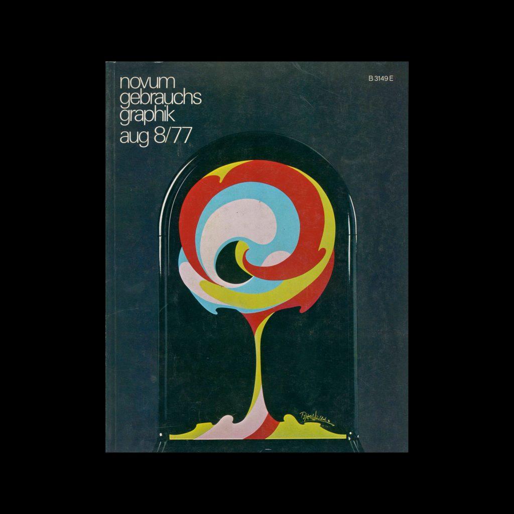 Novum Gebrauchsgraphik, 8, 1977. Cover design by Bjørn Wiinblad