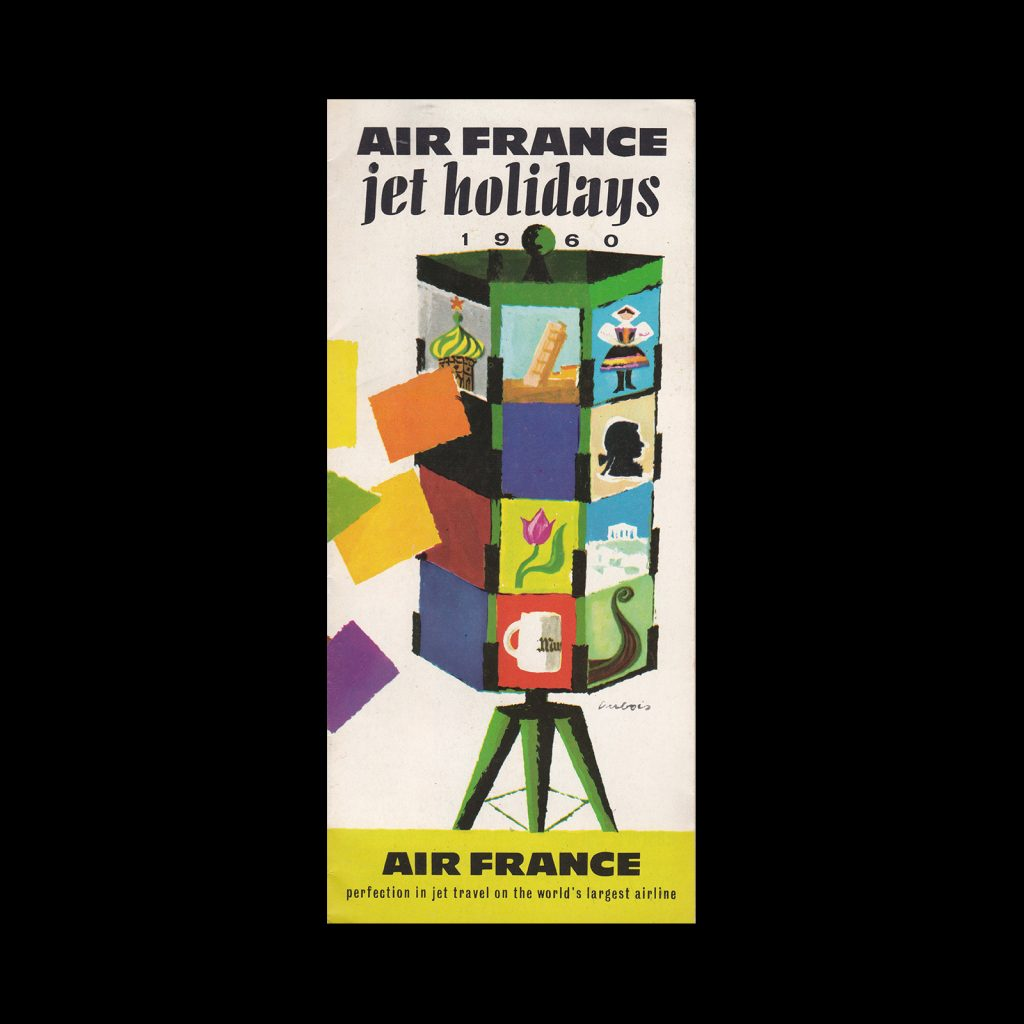 Air France, Jet Holidays, 1960. Cover design by Jacques Dubois