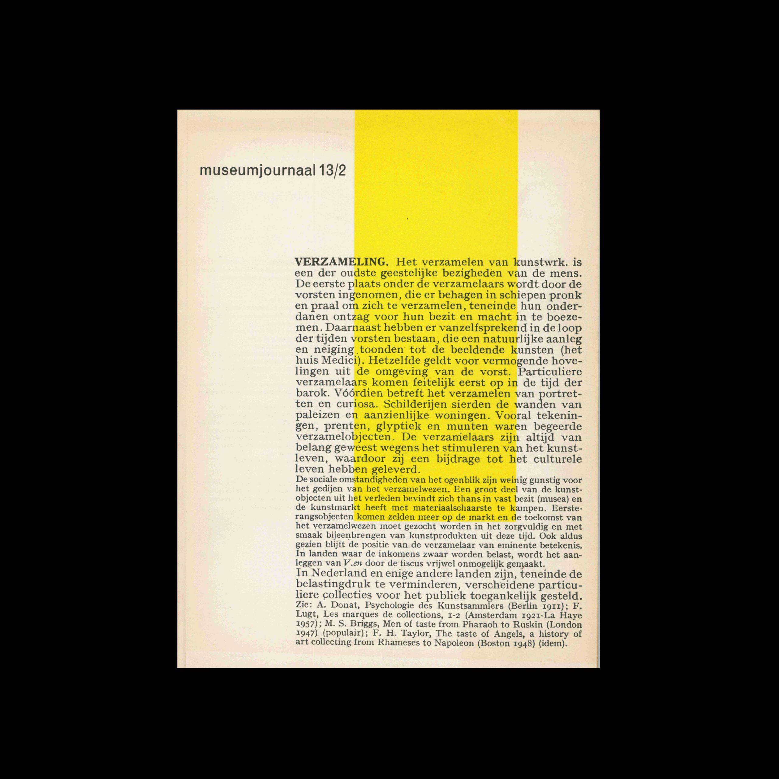 Museumjournaal, Serie 13 no2, 1968. Designed by Jurriaan Schrofer.