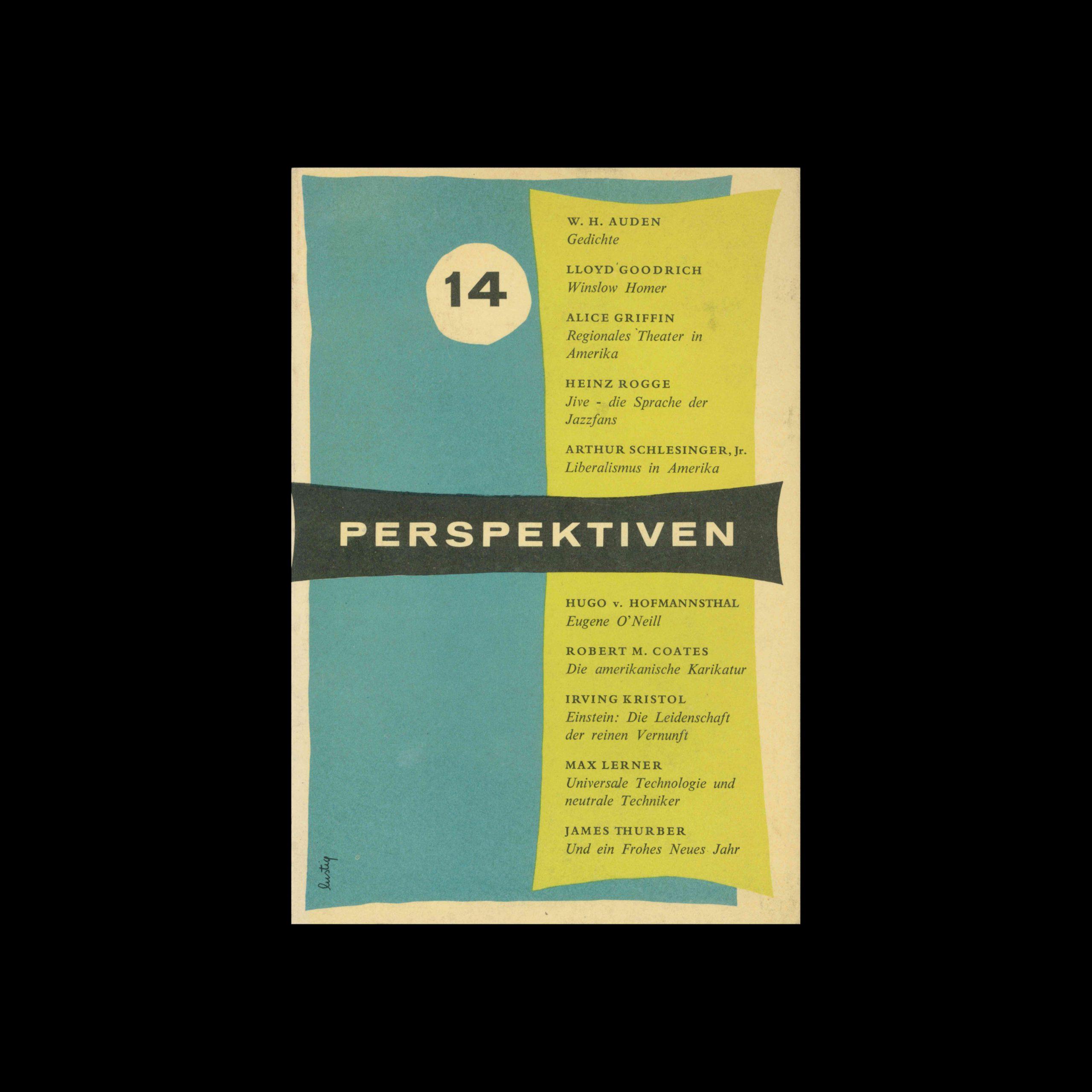 Perspektiven, Literatur, Kunst, Musik, 14, 1956. Cover design by Alvin Lustig