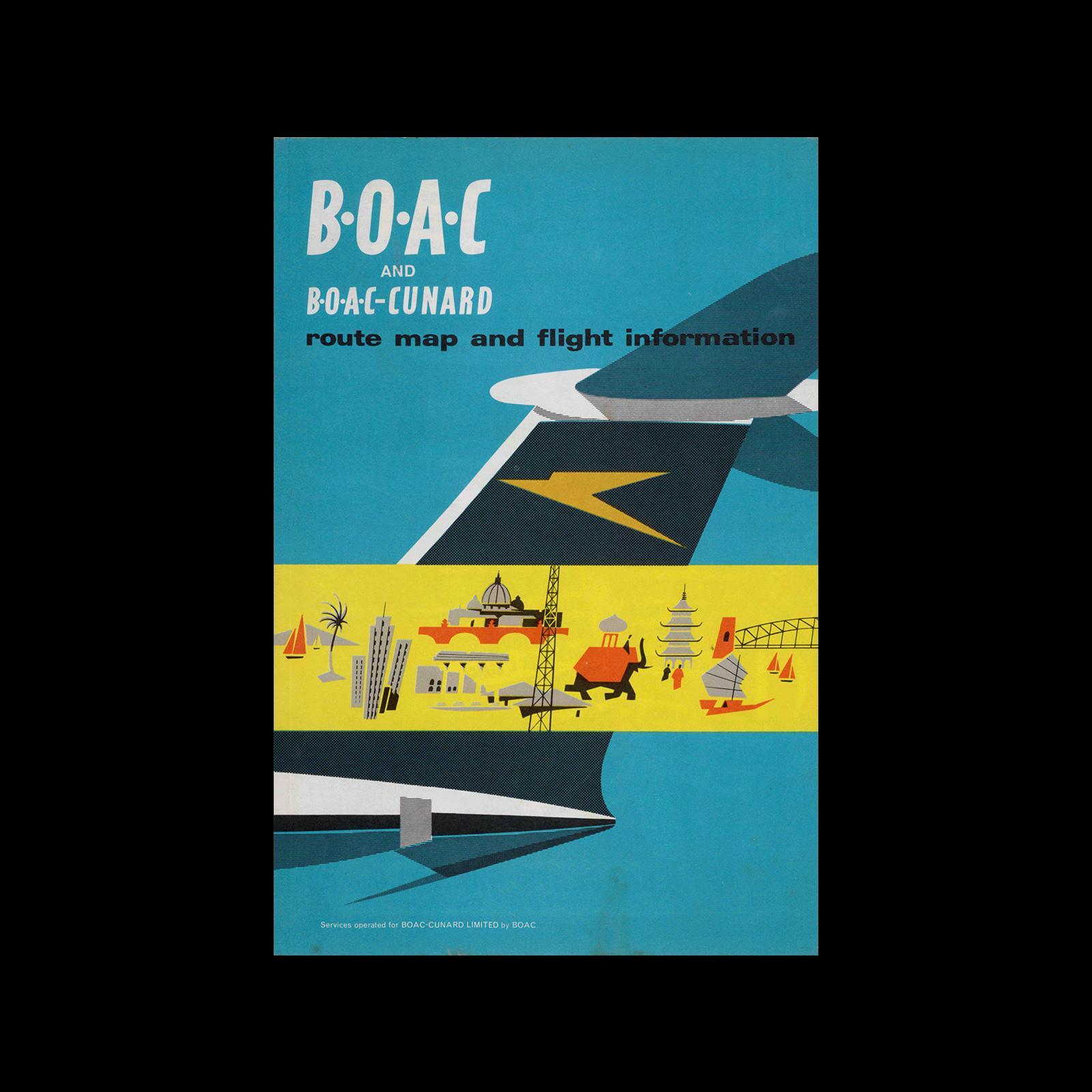 BOAC & B.O.A.C-Cunard, Route Map & Flight Information, 1964