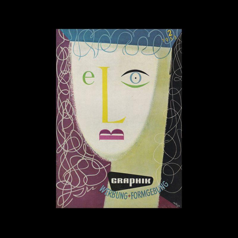 Graphik - Werbung + Formgebung, 2, 1953. Cover design by José Ortega