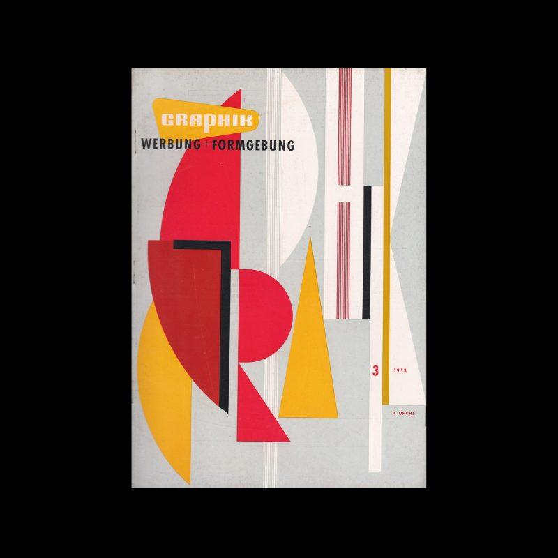 Graphik - Werbung + Formgebung, 3, 1953. Cover design by Hiroshi Ohchi