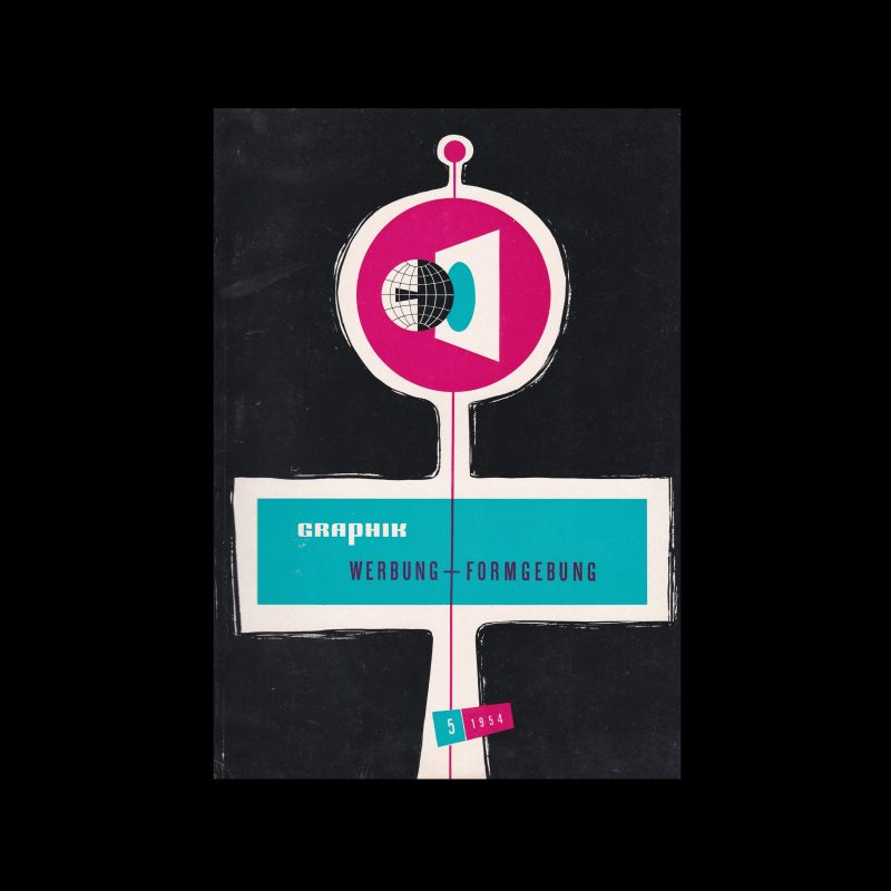 Graphik - Werbung + Formgebung, 2, 1954. Cover design by Hans Gaensslen