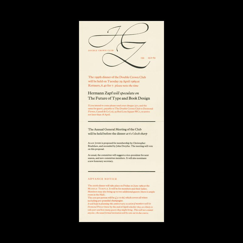 Double Crown Club Dinner Invitation Card, Hermann Zapf on the Future of Type And Book Design, 1969