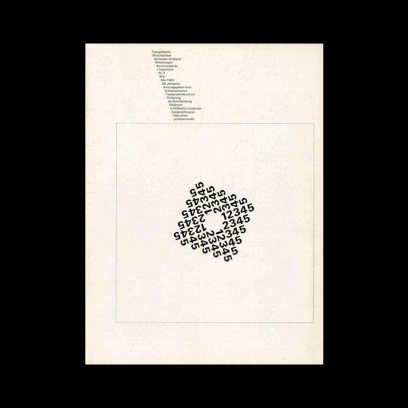 Typografische Monatsblätter, 5, 1969. Cover design by Theophil Stirnemann