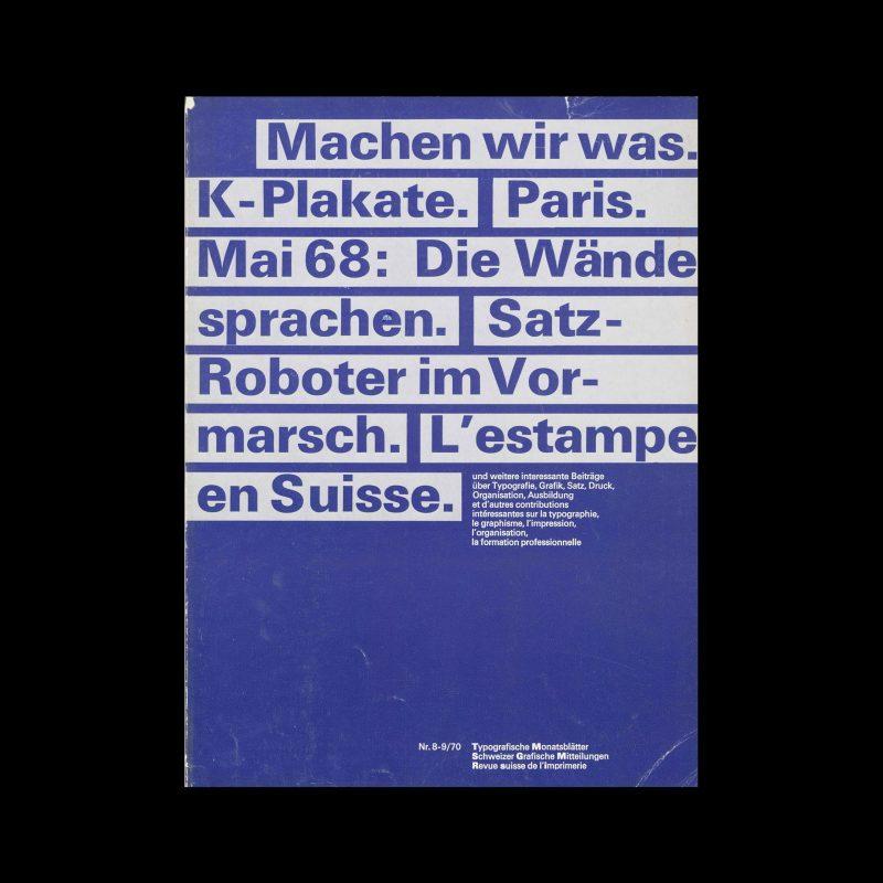 Typografische Monatsblätter, 8-9, 1970. Cover design by Felix Berman