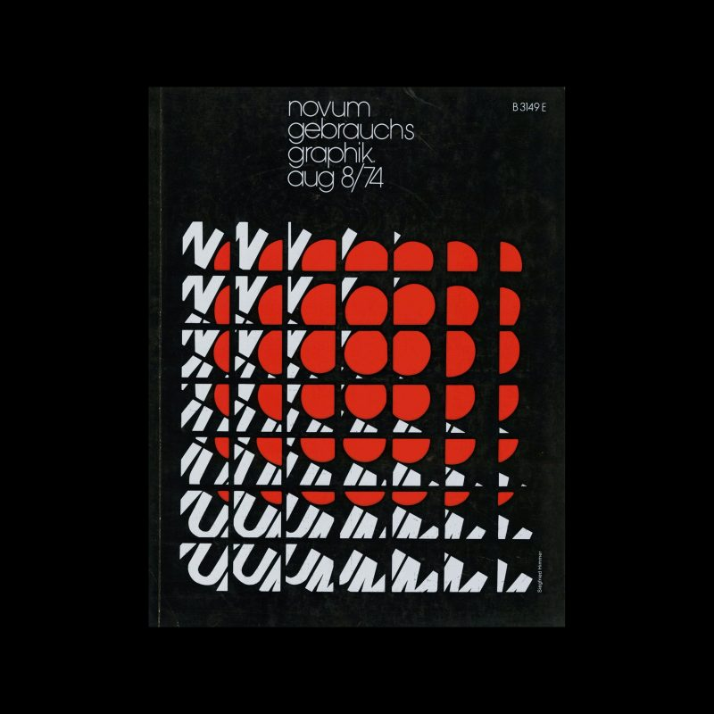 Novum Gebrauchsgraphik, 8, 1974. Cover design by Siegried Himmer
