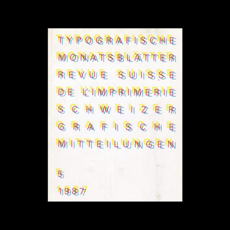 Typografische Monatsblätter, 5, 1987. Cover design by Jean-Pierre Graber