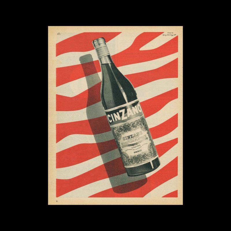 Cinzano, Advertisement, 1955. Design by Guy Georget.