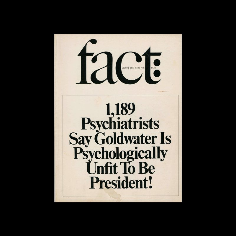 Fact, Volume One, Issue Five, 1964. Designed by Herb Lubalin