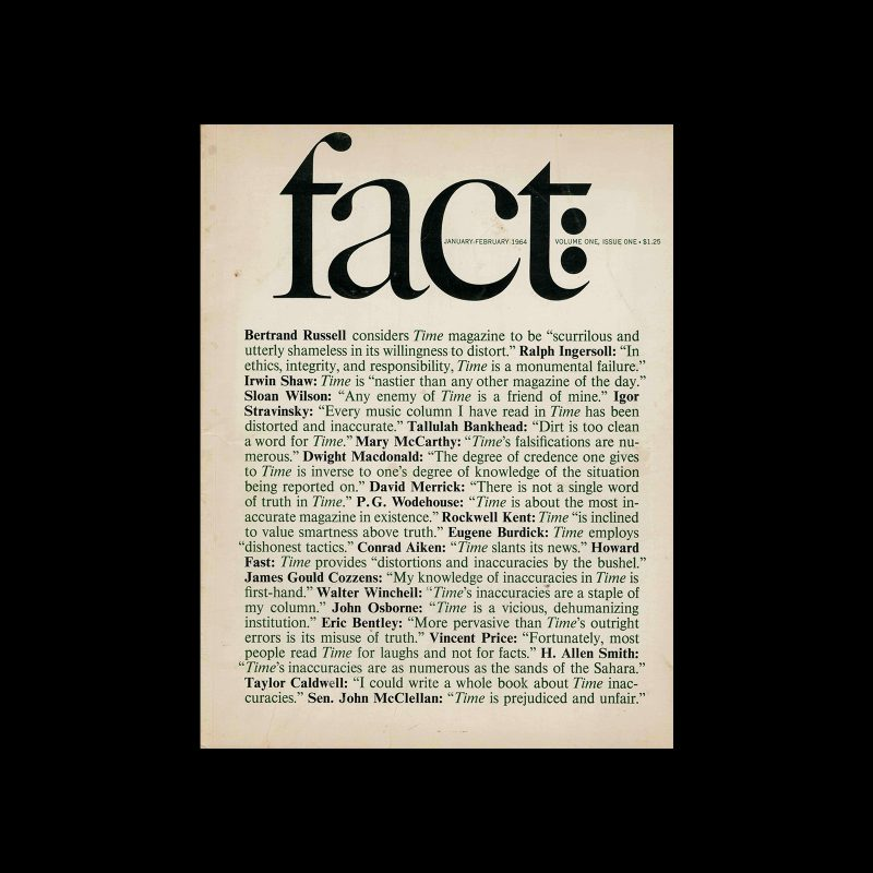 Fact, Volume One, Issue One, 1964. Designed by Herb Lubalin