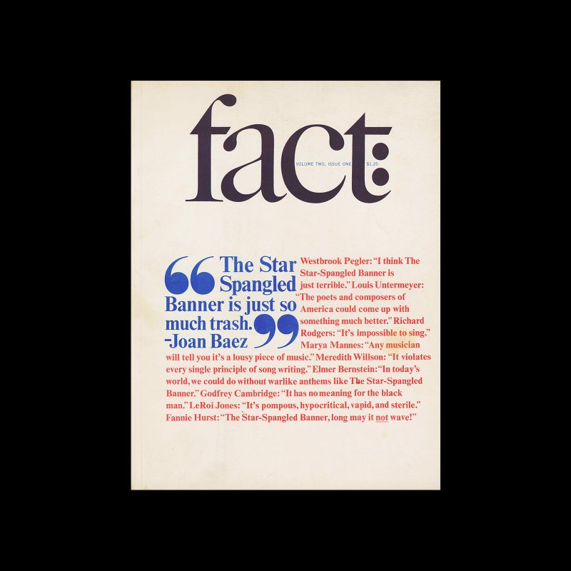 Fact, Volume Two, Issue One, 1965. Designed by Herb Lubalin