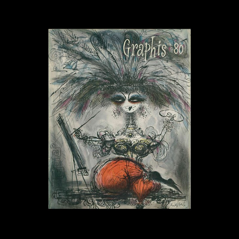 Graphis 80, 1958. Cover design by Ronald Searle.