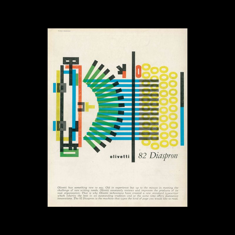 Olivetti Diaspron 82, advertisement, 1959. Designed by Giovanni Pintori.