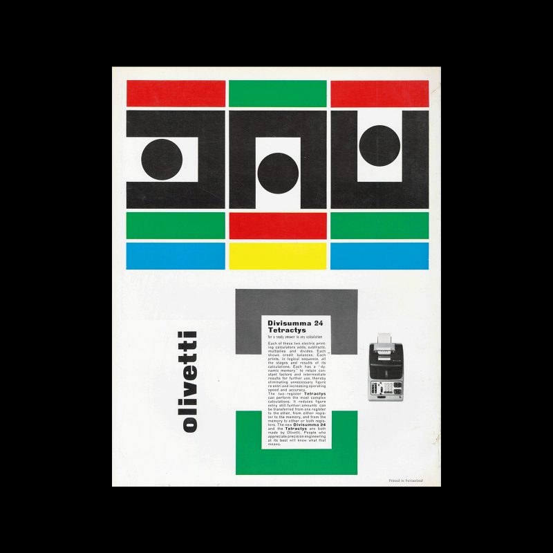 Olivetti Divisumma 24, international advertisement, 1959. Designed by Giovanni Pintori.