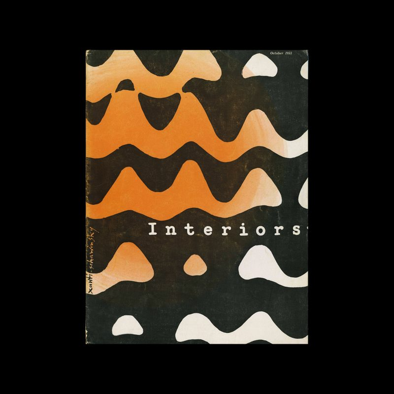 Interiors + Industrial Design, October 1953. Cover design by Xanti Schawinsky