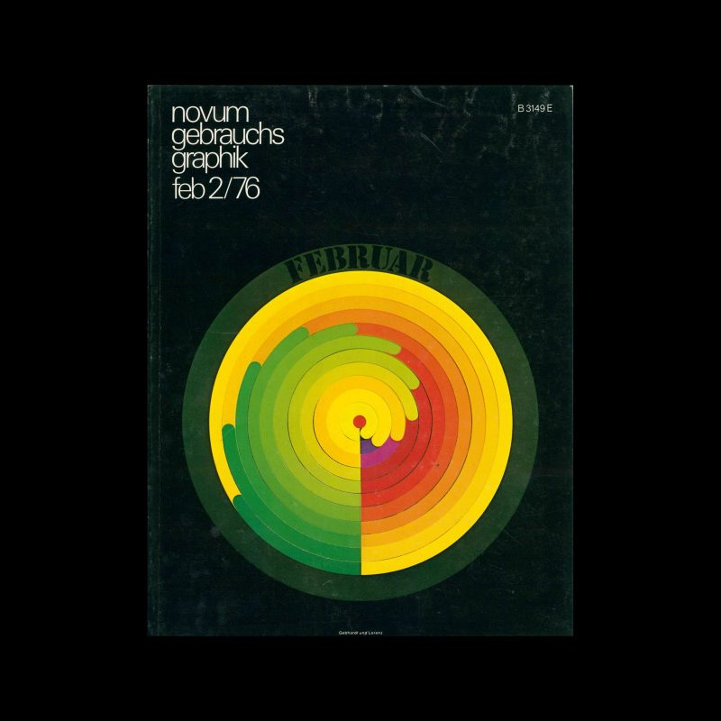 Novum Gebrauchsgraphik, 2, 1976. Cover design by Gebhardt + Lorenz