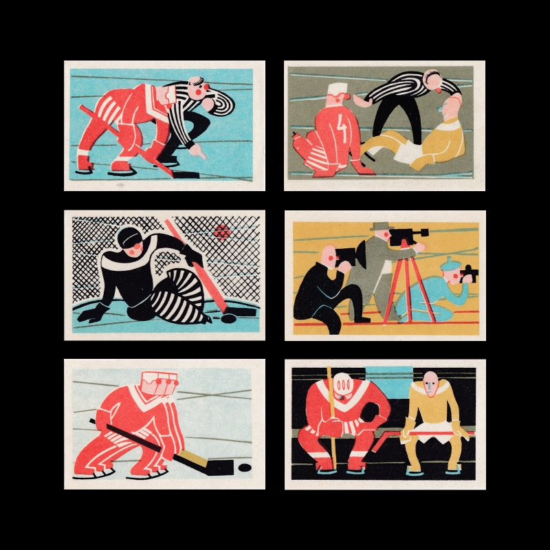 Ice Hockey - World Championship 1966, Russian Matchbox Label Set