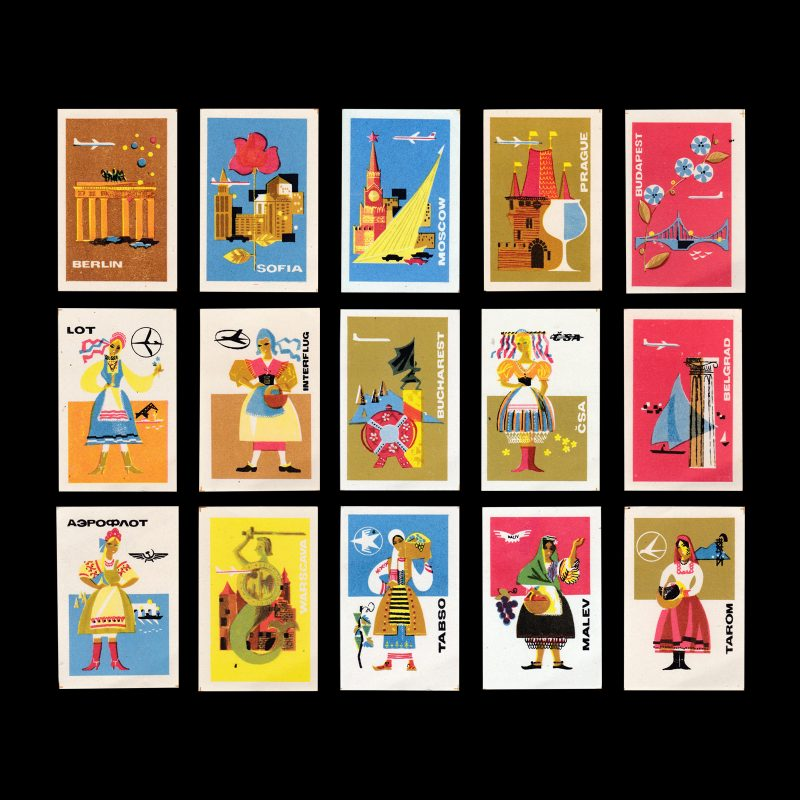 Fly to Our Country!, Russian 1968 Matchbox label set