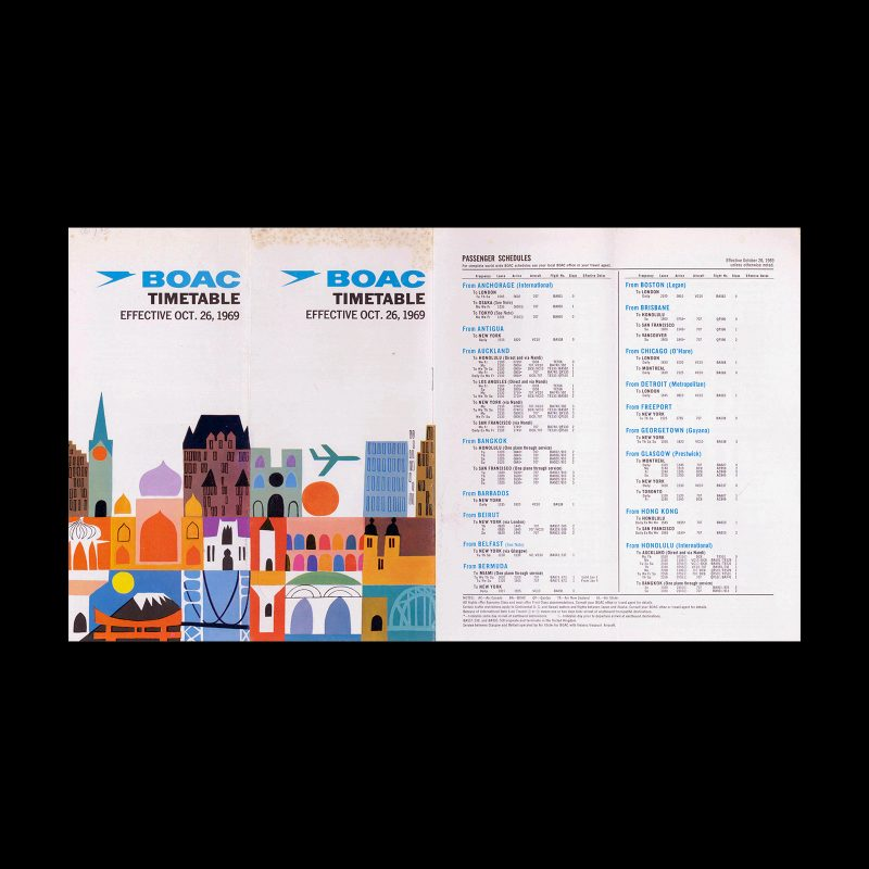 BOAC Timetable - Oct 26, 1969