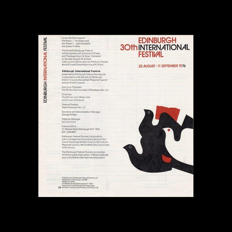 Edinburgh 30th International Festival 1976, Programme, 1976. Designed by Hans Schleger.