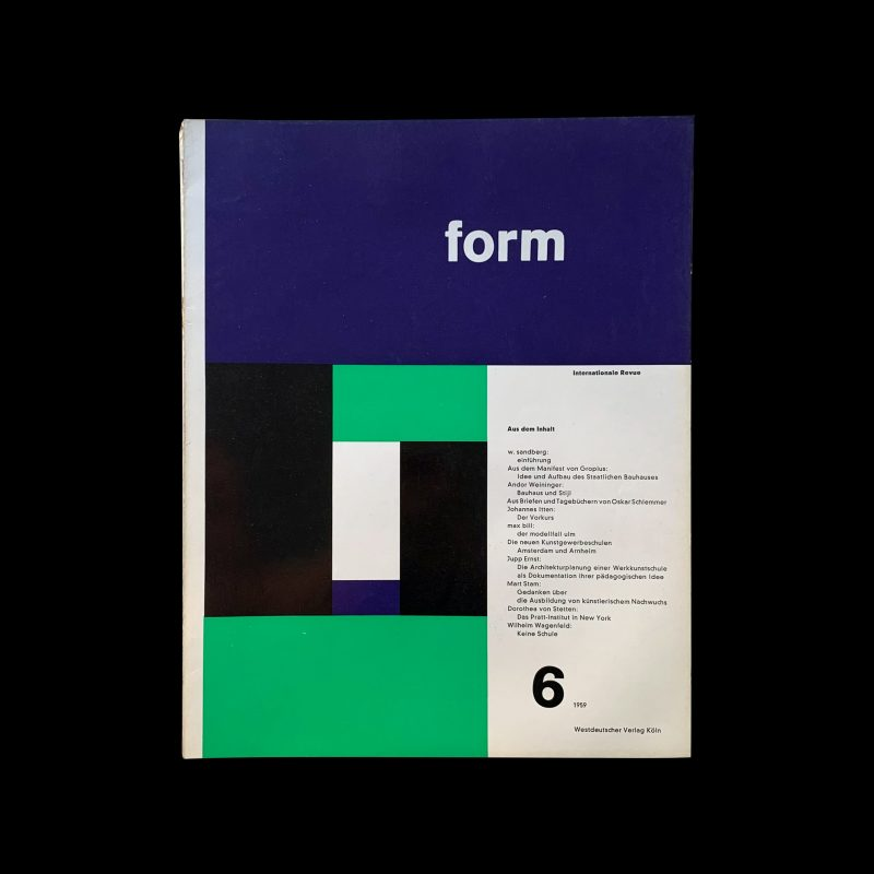 Form, Internationale Revue 6, 1959 Cover: Max Bill, Inners: Müller-Blase