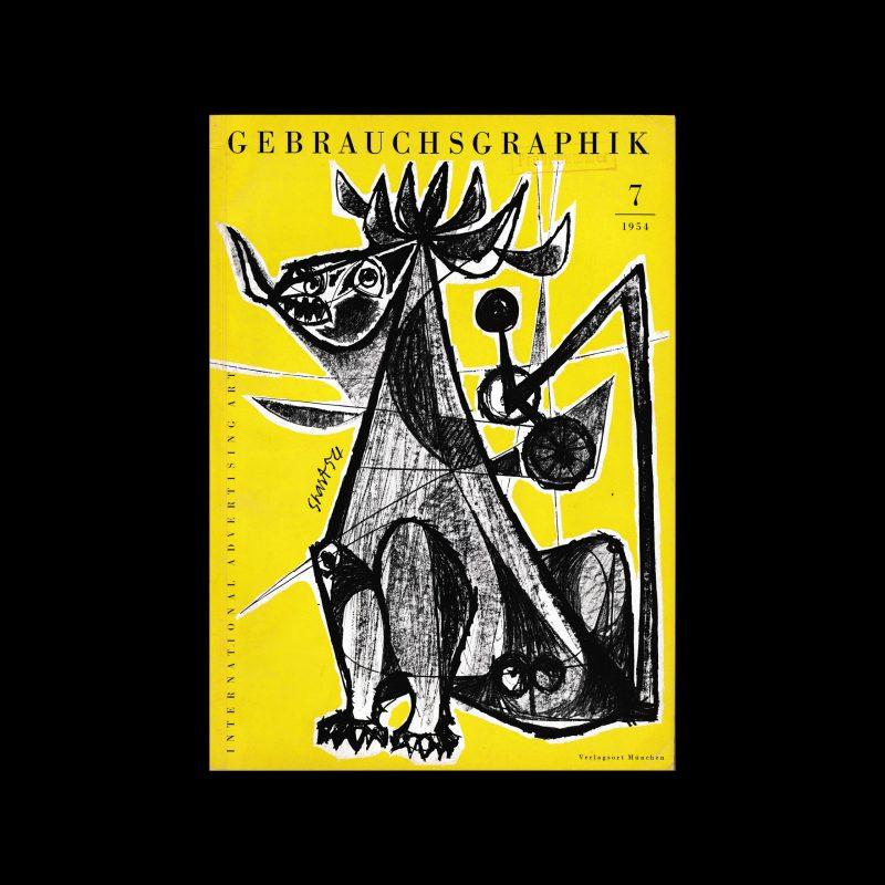 Gebrauchsgraphik, 7, 1954. Cover design by Ben Shan