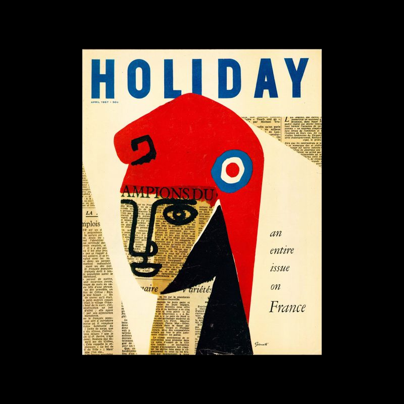 Holiday Magazine, April, 1957. Cover designed by George Giusti.