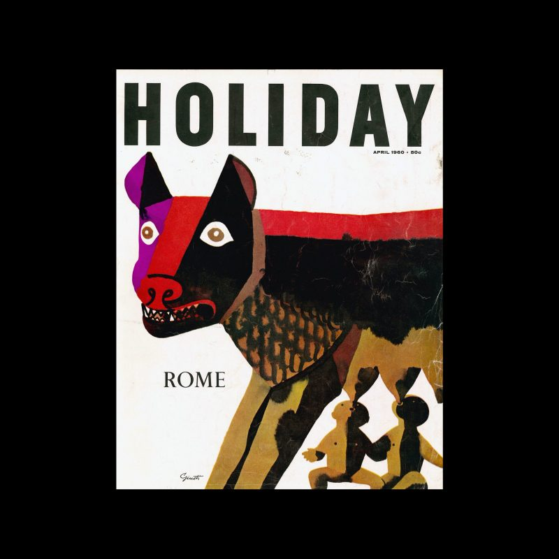 Holiday Magazine, April, 1960. Cover designed by George Giusti.