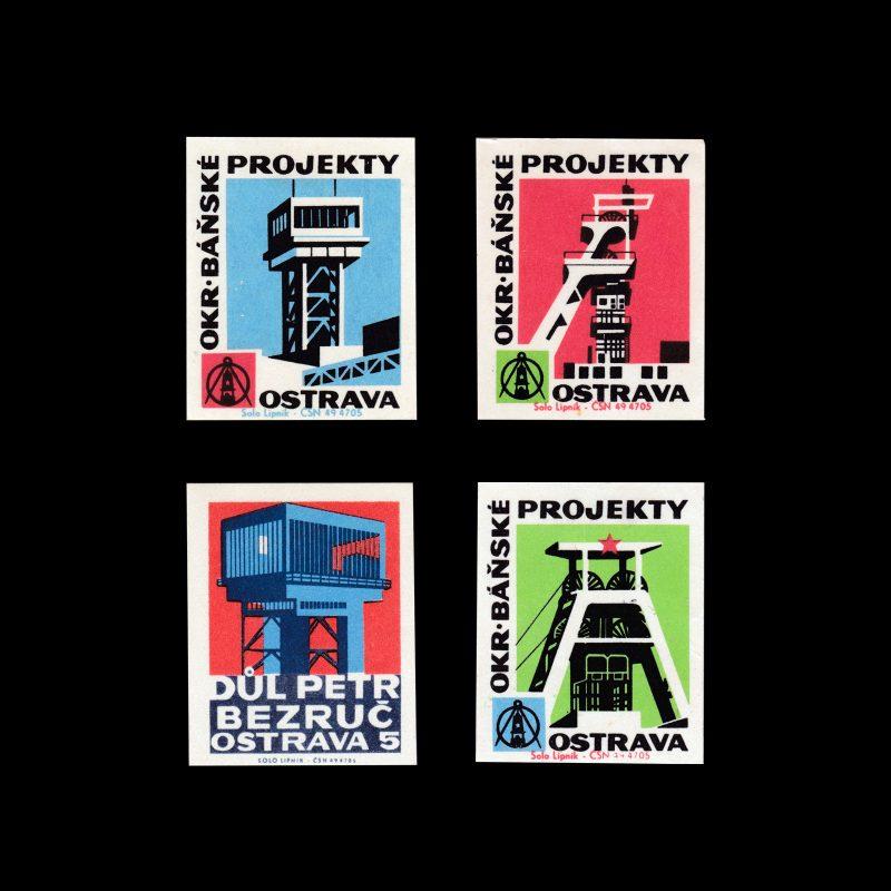 OKR Báňské Projekty Ostrava Czech matchbox labels