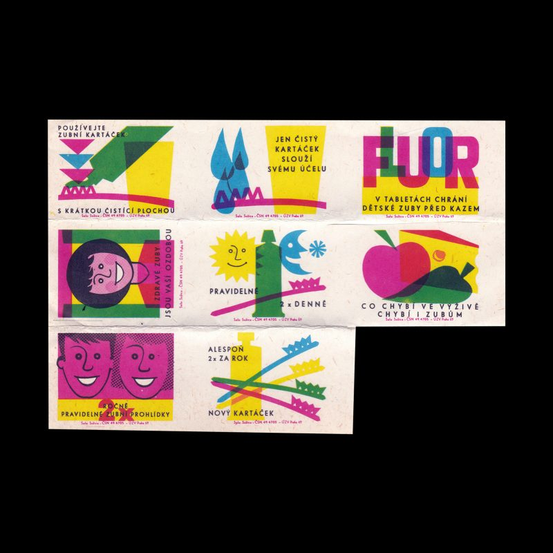 Healthy Teeth Campaign, Czechoslovakian 1969 Matchbox label set